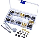 Blulu 39 Set Copper Press Studs Poppers Snap Fasteners No Sewing Leather Clothing Button with 4 Pieces Install Tool (12 mm)