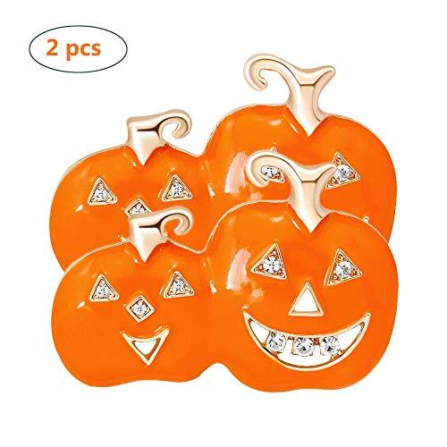 ZYJFP Halloween Pumpkin Head Brooch Set of 2, Stylish and Vivid, Cute Alloy Drop Brooch Ladies Clothing Accessories]()
