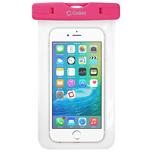 Waterproof Case for Smartphones by Cellet-Universal Compatibility Including iPhone 7 Plus, 6s Plus, Samsung Galaxy S7 Edge, Digital Cameras, MP3 Players and More - IPX8 Certification-Pink