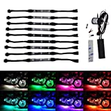 TASWK 10Pcs Led Light Kits Multi-Color Wireless Remote Control Motorcycle Atmosphere Lamp RGB Flexible Strips Ground Effect Light for Harley Dyna