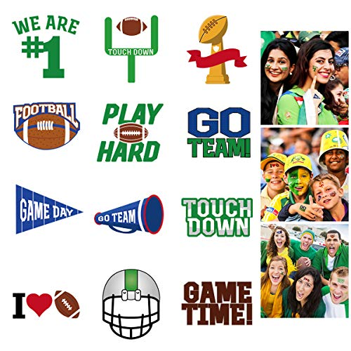 LUOEM 72 Pcs Football Face Tattoos Super Bowl Temporary Tattoo Football Sports Face Body Stickers for Football Birthday Theme Party Sports Event Game Party Favor Supply - 6 Sheet]()