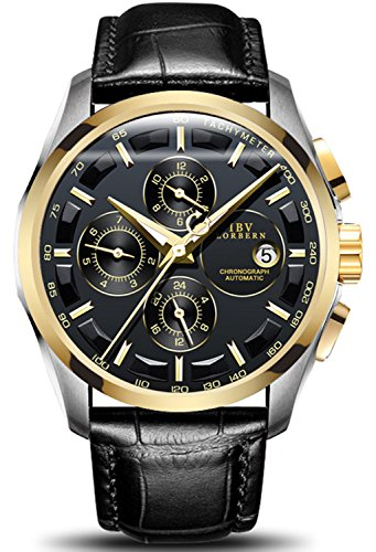 Swiss Brands Men's Automatic Self-Wind Watch Stainless Steel and with Brown Genuine Leather Band (Gold Black) (Gold Manual Wind)