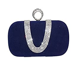 Chicastic Royal Blue Suede Velvet Rhinestone Stud One Ring Knuckle Duster Evening Cocktail Clutch Bag