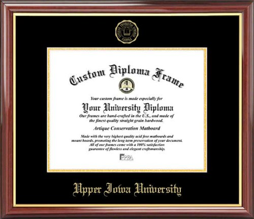 Laminated Visuals Upper Iowa University Peacocks - Embossed Seal - Mahogany Gold Trim - Diploma Frame