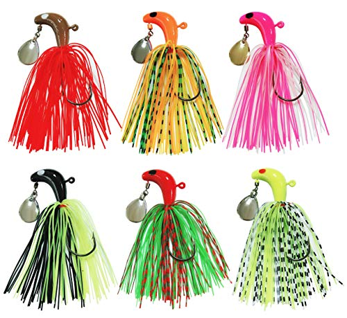 JSHANMEI Fishing Hard Spinner Baits Lures kit Metal Spinnerbait Silicone Skirt Jig Head Lure Mix Colors Buzzbait Swimbaits Bass Trout (4pcs)