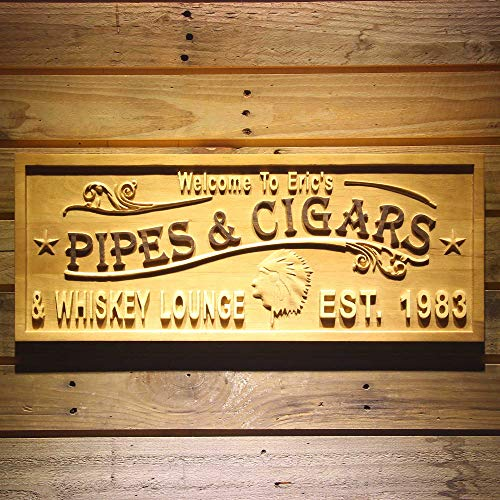 ADVPRO wpa0474 Name Personalized Pipes & Cigars Whiskey Lounge Indian Head Bar Décor Wood Engraved Wooden Sign - Standard 23