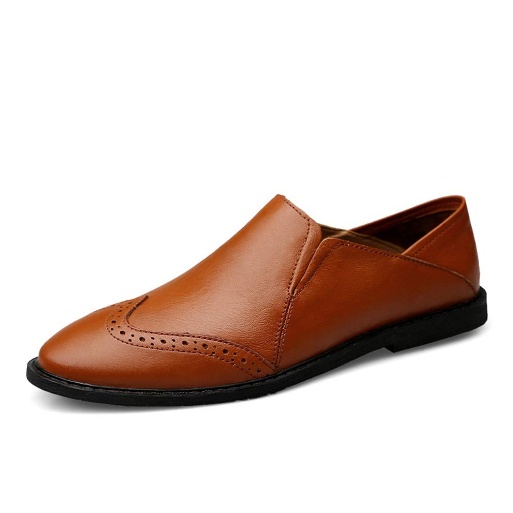 HONGkeke Mens Slip-on Penny Driving Loafers Casual Solid Color Oxford Shoes Carving Brogue Big Size Boat Moccasins Durable Color : Red Brown, Size : 6 D US M