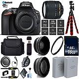 Nikon D5600 DSLR Wi-FI NFC 24.2MP DX CMOS Camera AF-S 18-140mm VR Lens + LED Light kit + Wide Angle & Telephoto Lens + 12 inch Flexible Tripod + Camera Case - International Version