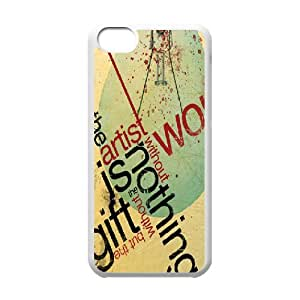 IPhone 5C Case, Printed Abstract Typography Case for IPhone 5C {White}