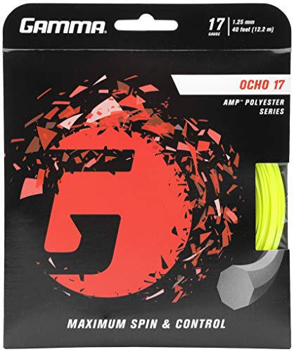Gamma Sports Ocho 17G Tennis String, Neon Yellow