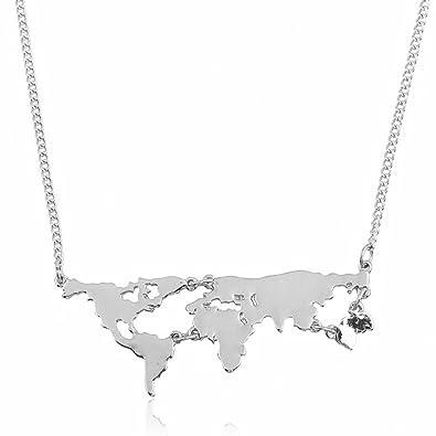 diseño de calidad venta caliente real ventas calientes MESE London Collar Mapamundi Colgante Cadena De Plata - Elegante Caja De  Regalo