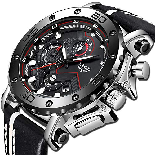 LIGE Mens Watches Waterproof Sports Chronograph Casual Fashion Analog Quartz Watch Luxury Military Leather Large Dial Watch ()
