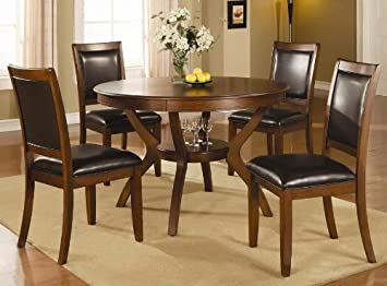 5pc Casual Dining Table And Chairs Set In Brown Walnut Finish