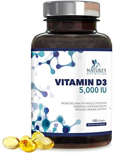 Nature's Nutrition Vitamin D3 5,000 IU, High Potency for Healthy Muscle Function, Bone Health and Immune Support, Gluten Free & Non-GMO (4 Month Supply) Vitamin D Supplement - 120 Softgels
