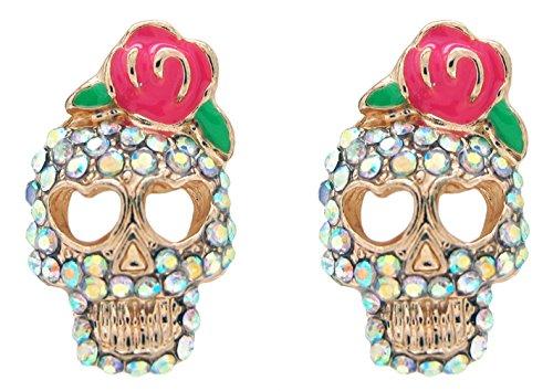 DaisyJewel Rose Skull Crystal Calavera Stud Earrings
