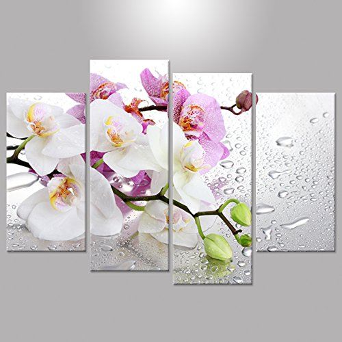 Hello Artwork 4 Panels Beautiful Butterfly Orchid Flowers Canvas Print for Home Decoration Painting Wall Art Picture Print on Canvas for Living Room Wall Decor Ready to Hang (Butterfly Panel)