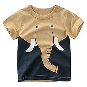 EULLA Little Boys' Short Sleeve Crewneck T-Shirt Elephant Print Tee