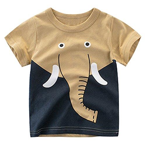 - EULLA Little Boys' Short Sleeve Crewneck T-Shirt Elephant Print Tee