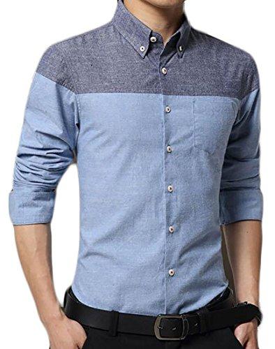 Papijam Mens Slim Cotton Long Sleeve Color Block Casual Button Down Shirts Light Blue Small
