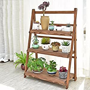 Balcony solid wood living room flowerpot frame hundred-step folding flower stand-D