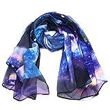 Fashionable Galaxy Star Space Print Large Chiffon Scarf - Blue