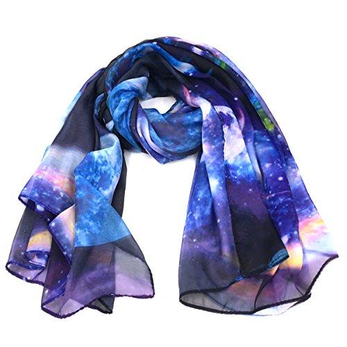 (Fashionable Galaxy Star Space Print Large Chiffon Scarf - Blue)