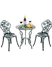 COSTWAY 3-Delige tuinmeubelset, bistroset, gegoten rose ontwerp antieke buiten tuin tuinmeubilair, weerbestendig tuin ronde tafel en stoelen met paraplu gat (Brons)