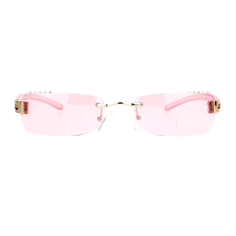 858f3ec753 Amazon.com  Womens Rimless Sunglasses Rectangular Frame Rhinestone Beveled  Lens Pink  Clothing