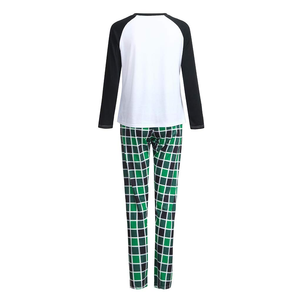 Matching Sleepwear Letter Lattice Printed Long Sleeve Tops Green Tree Pajamas Pant Set Mommy, S