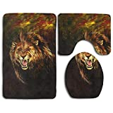 Bathroom Accessories Bath Rug Microfiber 3D Pattern Roaring Lion Sets 3 Piece Toilet Mats Anti Slip Shower Floor Rugs Pedestal Rug + Lid Toilet Cover + Bath Mat
