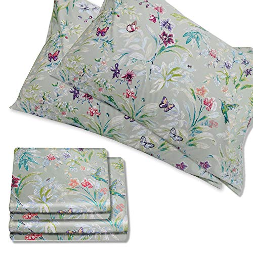 Warm Day Green 4 Piece Set-Egyptian Cotton Sheet Set-Shabby Blossom Branch Bird Floral Vintage Comfy Bed Sheets Garden French Country Decorative Bedding Set with Pillow Shams-Full Size-19