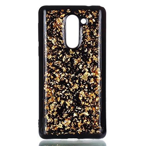 EUWLY Funda Huawei Honor 6X, Carcasa Huawei Honor 6X Silicona, Ultra Slim Flexible Silicona Parachoques Gel TPU Case Cover Glitter Sparkle Brillo de Colores Brillante Lentejuelas Diseño Silicona Carca Dorado