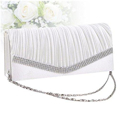 Pleated Bag For Wedding Body Handbags Cross Cluch Evening Purses White Shoulder Nodykka Rhinestones Women Y8qpwWR