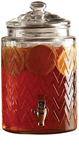Circleware Chevron 1.6 Gallon Glass Beverage Drink Dispenser with Glass Lid, Limited Edition Glassware Serveware Drinkware (Sun Tea Container compare prices)