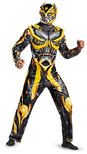 Disguise Men's Hasbro Transformers Age Of Extinction Movie Bumblebee Deluxe Costume, Yellow/Black, X-Large/42-46 (Adult Transformers Costume)