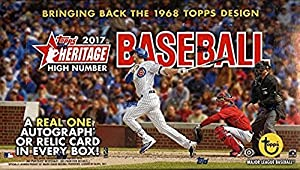 2017 Topps Heritage Baseball High Number Hobby Box 24 Packs of 9 Cards; 1 Relic or Autograph plus a