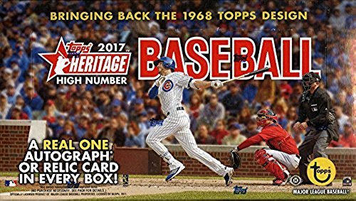 Topps Heritage Baseball Cards - 2017 Topps Heritage Baseball High Number Hobby Box 24 Packs of 9 Cards; 1 Relic or Autograph plus a