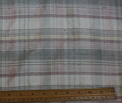 Cream & Pink Dupioni Plaids, 100% Silk Fabric, By The Yard, 44