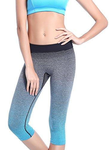 Tiheen Womens Athletic Stretchy Compression Yoga Capri Leggings (FBA)