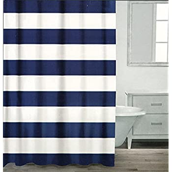 Caro Home 100% Cotton Shower Curtain Wide Stripes Fabric Shower Curtain  White Navy Silver