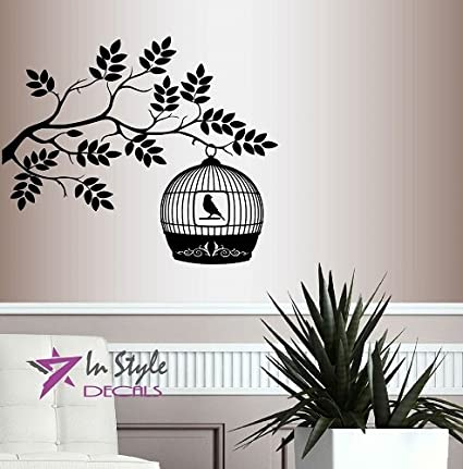 Wall Vinyl Decal Home Decor Art Sticker Bird In Cage On Tree Branch Bedroom Living Room Nursery Removable Stylish Mural Unique Design 187