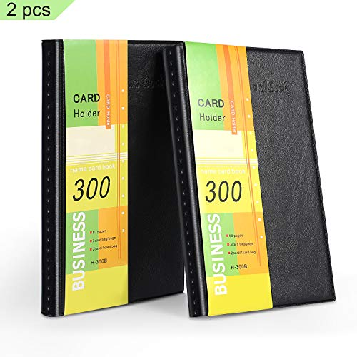 (Farielyn-X Business Card Holder, Journal Business Card Organizer, Professional PU Leather Name Card Book Holder, Office Business Card Book, 2 Pack Total for 600 Business Cards)