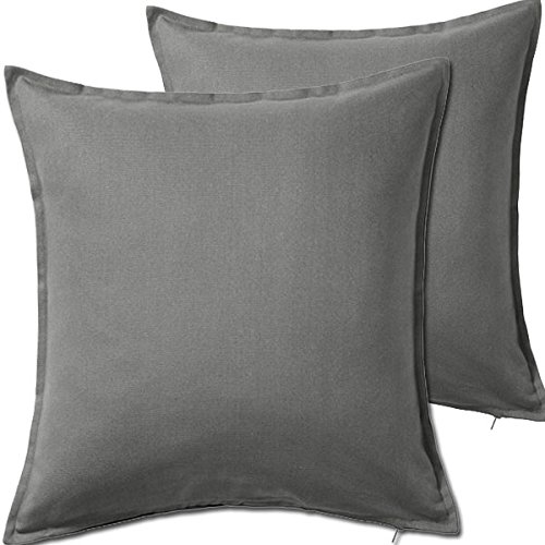 "Price comparison product image 2 Pack Solid Gray Decorative Throw Cushion Pillow Cover Cushion Sleeve for 20""x 20"" Insert , 100 Percent Cotton"