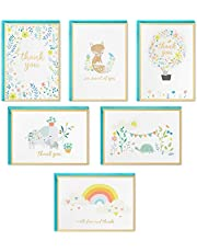 Hallmark Baby Shower Thank You Cards Assortment, Animals and Flowers (24 Cards with Envelopes for Baby Boy or Baby Girl) Elephant, Fox, Rabbit