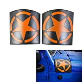 RT-TCZ Cowl Body Armor, External Decorations Durable Cowl Side Body For Jeep Wrangler Rubicon Sahara Jk &Unlimited 2007-2016[Latest Upgrade Version]-ONE PAIR [STAR/ORANGE]