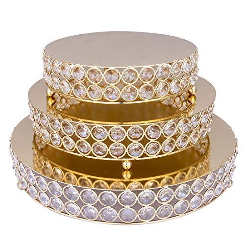 Qf Metal Cake Stands Set of 3, Gold Cake Plate, Birthday Wedding Party Serve Holder with Octagon Beads