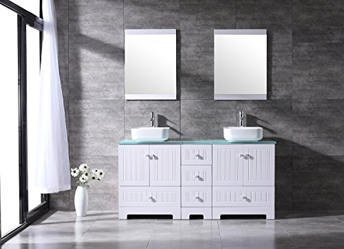 Sliverylake 60'' Bathroom Vanity Ceramic Vessel Sink Combo PVC Cover Cabinet Countertop Sink Bowl w/ Mirror Set … (White&Square) by Sliverylake