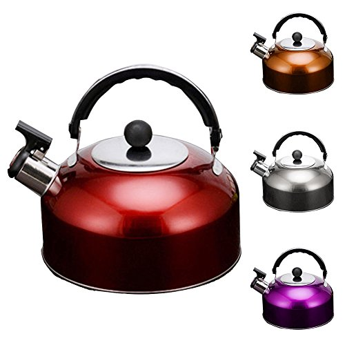 Thicken Electric Kettle, 3L Stainless Steel Induction Cooker Flat Base Whistling Kettle,Quick Boil Cordless Electric Kettle for Water Tea Make (4Colors)(Silver) by Carole4
