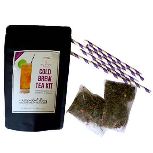 BIG T NYC Unexpected Fling Cold Brew Tea Kit Includes: 2 Sachets Of Premium Organic Sencha Loose Leaf Green Tea and Straws