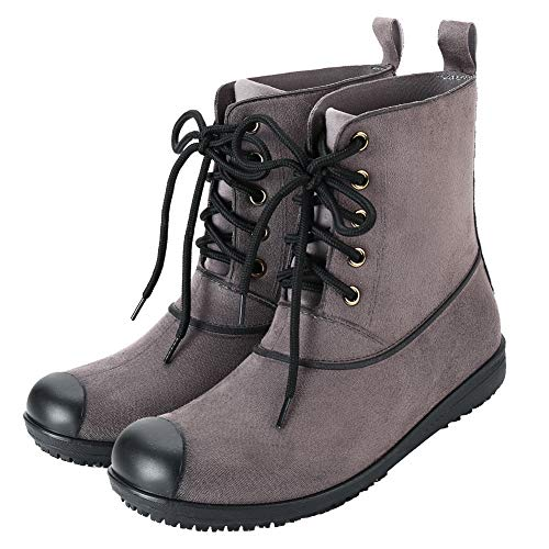 17KM Women's Black Lace Up Martain Rain Shoes Anti Slip Waterproof Rubber Rain Boots, Maroon, 7 M US